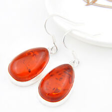 Holiday Gift Water Drop Shaped  baltic amber  Gems Silver Dangle Hook Earrings