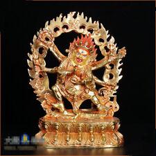 "8"" Asian Antique Tibetan Buddhism copper gilt hand painting Mahakala statue"