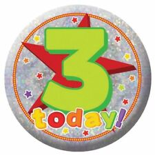 Holography Happy 3rd Birthday Badge 3 Today Party Celebration