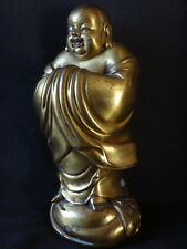 Superbe happy bouddha bronze doré golden chinese boudda sculpture Chine 24cm