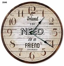 "A Friend in Need Is A FRIEND INDEED Clock - Large 10.5"" Wall Clock - 2046"