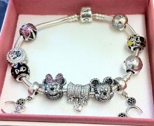 Genuine Pandora Disney Bracelet+11 Charms Ltd Pave Mickey+ Minnie BARGAIN!- ££