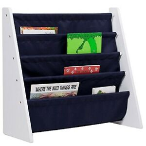"Wildkin Kids Canvas Sling 25"" Bookshelf For Boys & Girls SBS00288 White/blue NIB"