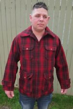 Vintage Mens Woolrich LumberJack Red Black Buffalo Plaid Mackinaw Hunting Jacket