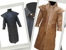 Mens Real Black or Brown Leather Trench Steampunk Duster Coat Cosplay Costume