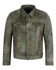 Leather TRUCKER JACKET Olive Vintage Cracker RealLeather 70's Shirt Jacket
