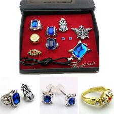 Cosplay Black Butler Kuro Ciel Sebastian ring necklace earring Jewelry 10pcs set