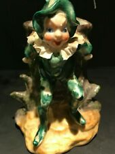 Vintage Porcelain Leprechaun and Tree Stump Vase/Planter Japan