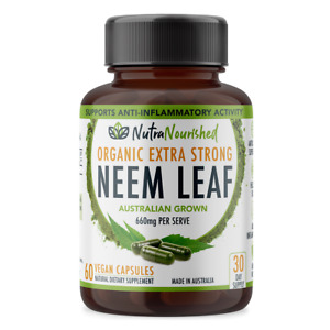 Premium Neem Capsules Organic 60 Cap Bottle Ayurvedic Herb for Enhances Stamina