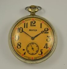 MOLNIJA USSR SOVIET POCKET WATCH MOLNIA OPEN FACE 18 JEWELS with SHIP!
