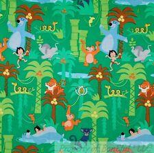 BonEful Fabric Cotton Quilt Green Jungle Book Bear Boy Disney African Sale SCRAP