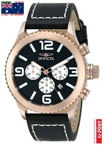 """Invicta Men's 1429 """"II Collection"""" 18k Rose Gold-Plated Stainless Steel Black AU"""