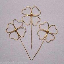 5 x Kleeblatt Stecker Metall  7 cm gold Glücksbringer
