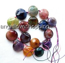 20mm multi-color coin veins onxy agated loose gemstone  jewelry maring supply
