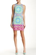 NWT Maggy London Tile Print Cotton Shift Dress 14 $118