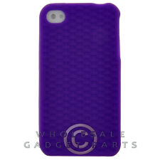 Apple iPhone 4/i4S Rubber Skin Case Purple Textured Cover Shell Protector Guard