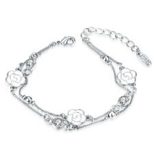 Tennis Bracelet with Blue Diamond in Sterling Silver-Plated Brass, 7 1/4""