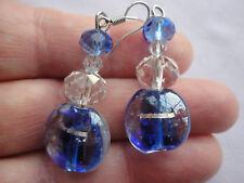 Silverplated blue murano glass briolette crystal 9gram 5cm drop pierced earrings