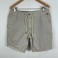 Industrie Mens Chino Shorts 34 Beige Elastic Waist Drawstring