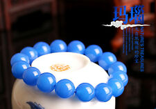 Unique beautiful natural agate blue chalcedony beads elastic bracelet