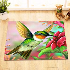 Hummingbird Red Flowers Shower Curtain Liner Waterproof Fabric Bathroom Mat Rug
