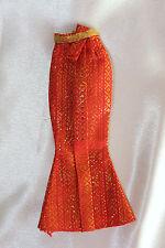 Barbie doll red & gold long mermaid dress bottom flare metallic Beautiful