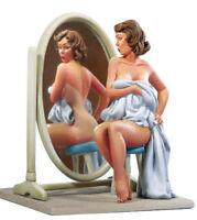 1/22 80mm Resin Figure Model Kit Poker Sexy Girl Suncare Mirror WWII Unpainted