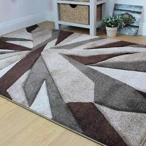 Flair Rugs Shatter Hand Carved Shatter Design Beige Brown Carpet Floor Rugs