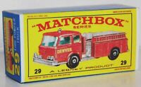 Matchbox Lesney Product No  29  FIRE PUMPER TRUCK Empty Repro E style Box
