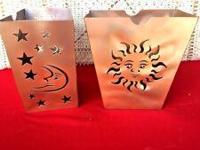 Party Lite Copper Tealight Candle Bag Sun & Moon See Thru Yankee Holder Set ��j8