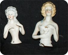 2 Antique GermanY Pin Cushion Half Doll Arms & Hands Away Flower #14756