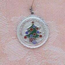 Present Sterling Silver Enamel Charm Vintage Merry Christmas ~ Tree &