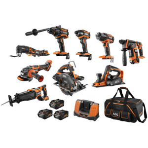 BRAND NEW - AEG 18V 6.0Ah 9 PIECE BRUSHLESS MEGA COMBO KIT WITH FUSION AND FORCE