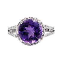 FINE 14K WHITE GOLD PAVE DIAMOND PURPLE AMETHYST ROUND ENGAGEMENT HALO RING