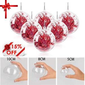 240X Clear Plastic Balls Christmas Baubles Sphere Fillable Xmas Tree Decor DIY