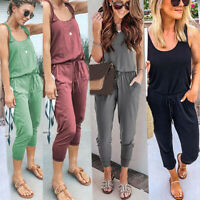 Womens Sleeveless Casual Long Jumpsuit Romper Overalls Summer Pocket Playsuit