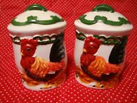 Vintage Rooster FARMHOUSE Salt & Pepper Shakers Ceramic Pair Hand-Painted    257