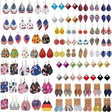 Wholesale Boho Women Leaf Teardrop Leather Earrings Ear Hook Drop Dangle Jewelry