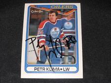 Edmonton Oilers Petr Klima Auto 1990/91 O-Pee-Chee OPC Signed Card #85  JB10