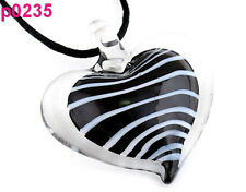 1pc Heart Lampwork Glass Pendant Necklace p0235