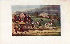 Stampa antica CARROZZA POSTALE INGLESE cavalli Alken 1903 Old Print Horses