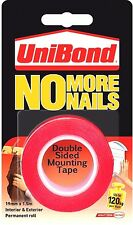 Unibond No More Nails Double Sided Permanent Mounting Tape Red 19mm x 1.5M 120kg