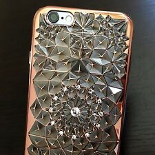 For iPhone 6 / 6S -HARD TPU RUBBER CASE COVER GRAY ROSE GOLD PLASTIC DIAMOND GEM