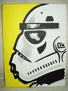 Canvas Painting Star Wars Stormtrooper Profile Yellow Pop Art 16x12 inch Acrylic