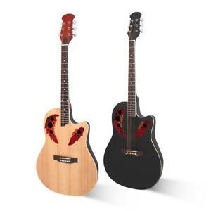 "New Glarry 41"" Folk Acoustic Cutaway Guitar Round Back with Bag Guard Board"