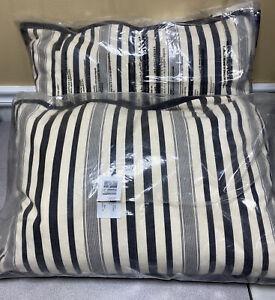 """2 RALPH LAUREN Taylor Ticking Pillows Cream/Charcoal, 16 x 24"""", NWD"""
