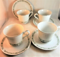Montclair Mikasa Cup & Saucer Sets (4 Pair) Pattern #G 9059 Green Flowers Leaves