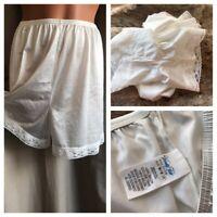 "VTG Vanity Fair Pettipants Panties Silky White Nylon Fancy Lace Hem Sz M/M 16"""