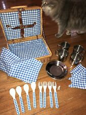 Play Picnic Basket complete with Accessories ~ Blue / White Gingham
