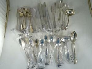 Vintage Reed & Barton Silverplated Flatware Set Dresden Rose Fork Spoon Unused